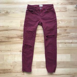 Girl's Roxy Denim distressed maroon Jeans 10